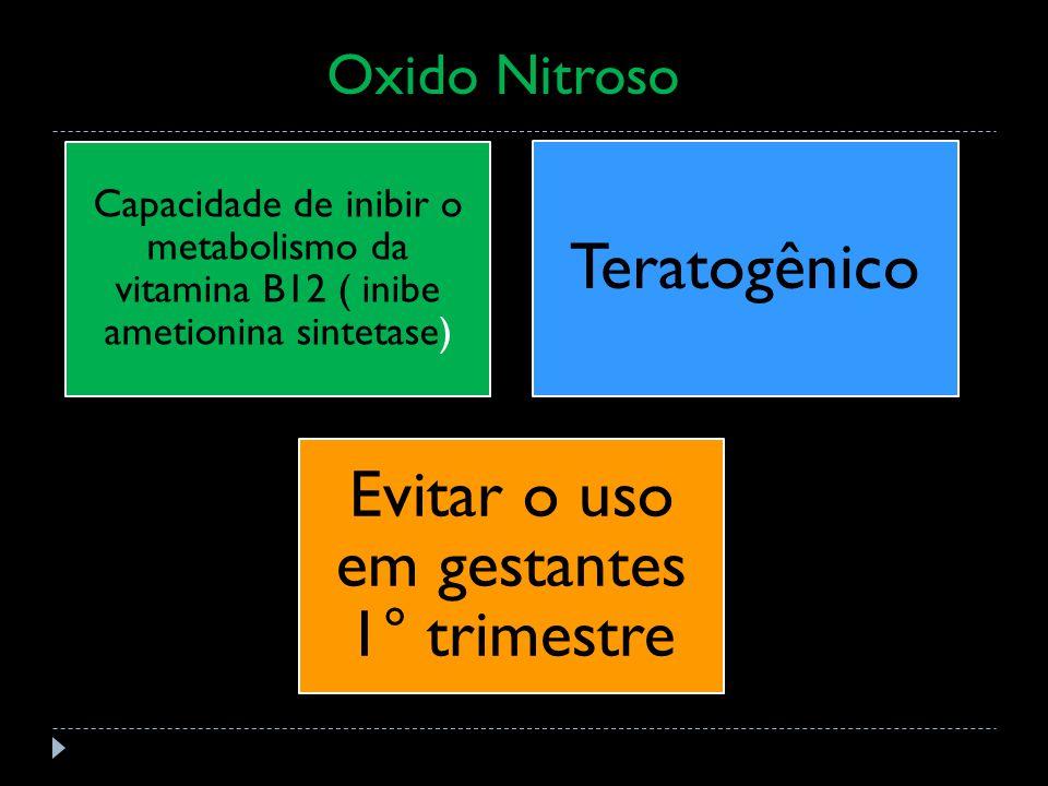 Oxid] Capacidade de inibir o metabolismo da vitamina B12 ( inibe ametionina sintetase) Teratogênico Evitar o uso em gestantes 1° trimestre Oxido Nitroso