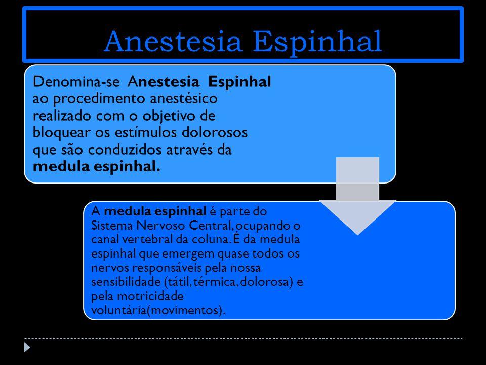 Anestesia Espinhal Denomina-se Anestesia Espinhal ao procedimento anestésico realizado com o objetivo de bloquear os estímulos dolorosos que são conduzidos através da medula espinhal.