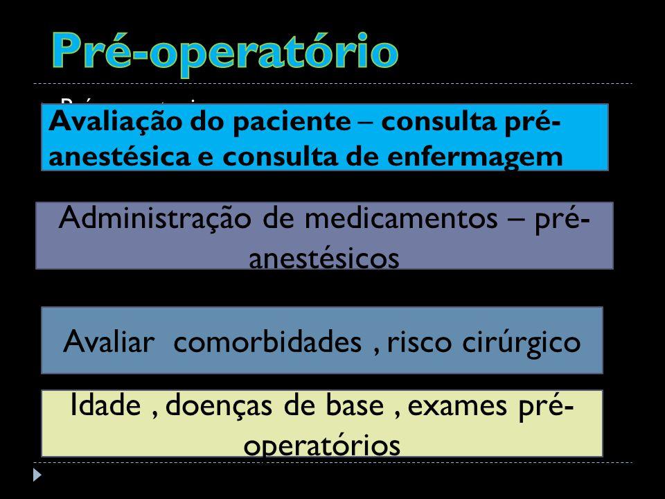 Pré-operatorio Avaliação do paciente – consulta pré- anestésica e consulta de enfermagem Administração de medicamentos – pré- anestésicos Avaliar comorbidades, risco cirúrgico Idade, doenças de base, exames pré- operatórios