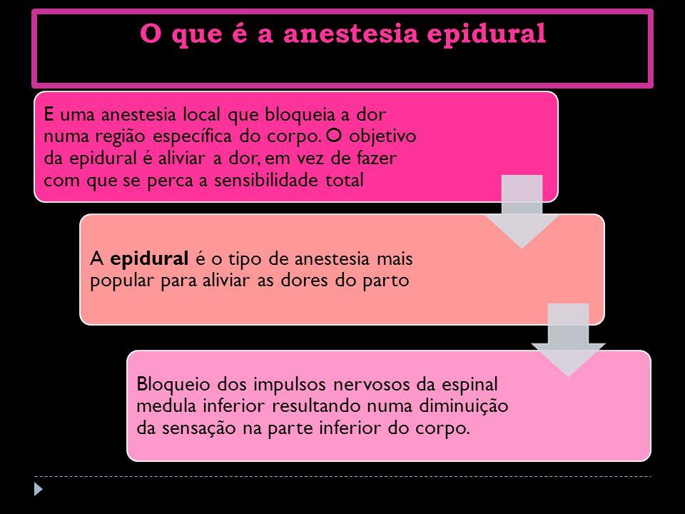 O que é a anestesia epidural E uma anestesia local que bloqueia a dor numa região específica do corpo. O objetivo da epidural é aliviar a dor, em vez
