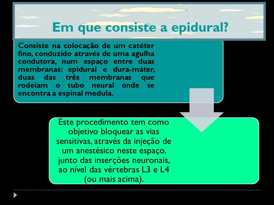 Consiste na colocação de um catéter fino, conduzido através de uma agulha condutora, num espaço entre duas membranas: epidural e dura-máter, duas das três membranas que rodeiam o tubo neural onde se encontra a espinal medula.