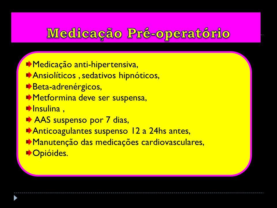 Medicação anti-hipertensiva, Ansiolíticos, sedativos hipnóticos, Beta-adrenérgicos, Metformina deve ser suspensa, Insulina, AAS suspenso por 7 dias, Anticoagulantes suspenso 12 a 24hs antes, Manutenção das medicações cardiovasculares, Opióides.