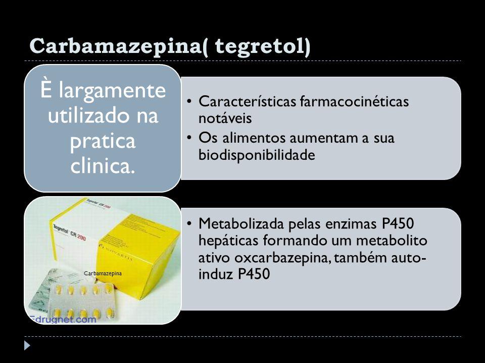 Carbamazepina( tegretol) Características farmacocinéticas notáveis Os alimentos aumentam a sua biodisponibilidade È largamente utilizado na pratica cl