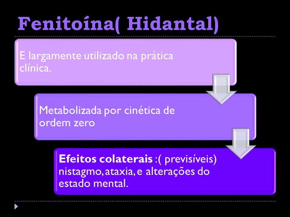 Fenitoína( Hidantal) E largamente utilizado na prática clínica. Metabolizada por cinética de ordem zero Efeitos colaterais :( previsíveis) nistagmo, a