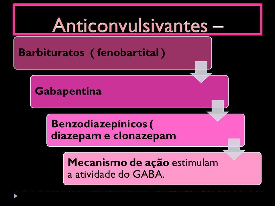 Barbituratos ( fenobartital )Gabapentina Benzodiazepínicos ( diazepam e clonazepam Mecanismo de ação estimulam a atividade do GABA.