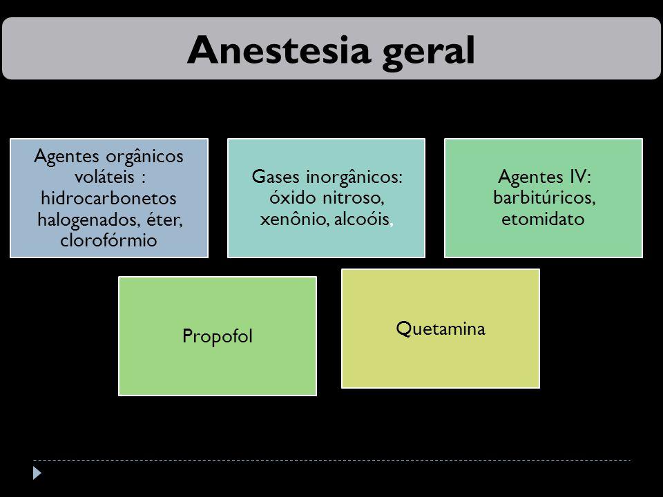 Agentes orgânicos voláteis : hidrocarbonetos halogenados, éter, clorofórmio Gases inorgânicos: óxido nitroso, xenônio, alcoóis, Agentes IV: barbitúricos, etomidato Propofol Quetamina Anestesia geral