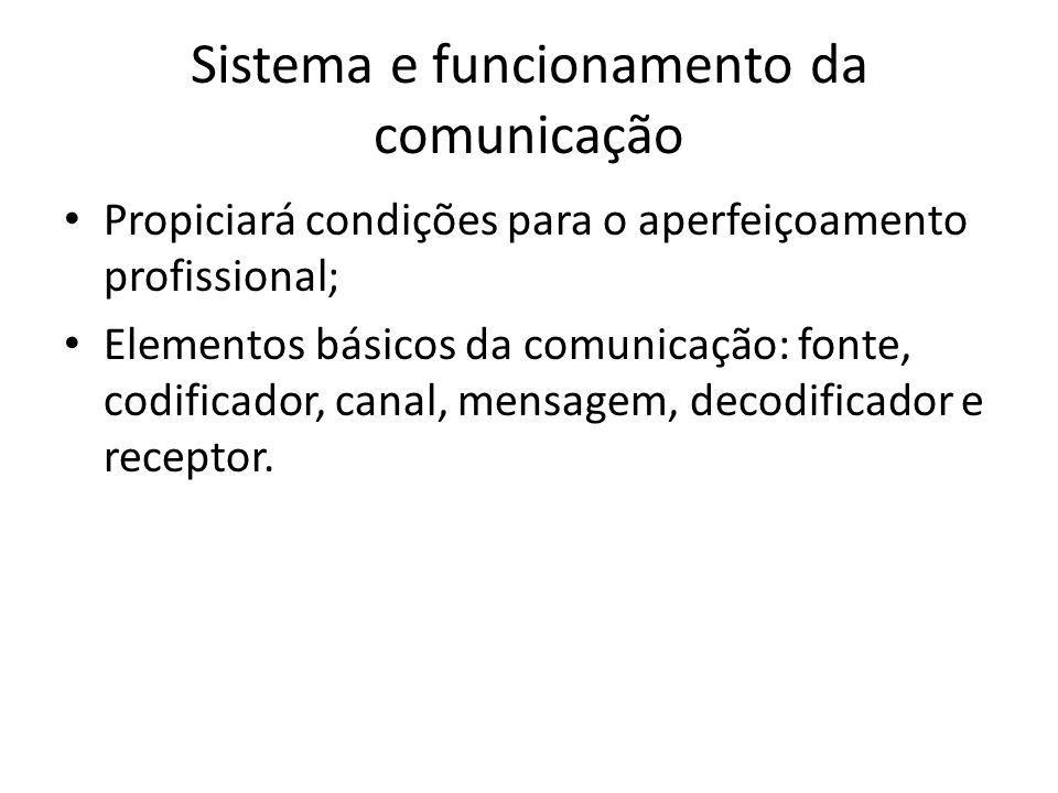 Sistema e funcionamento da comunicação Propiciará condições para o aperfeiçoamento profissional; Elementos básicos da comunicação: fonte, codificador,
