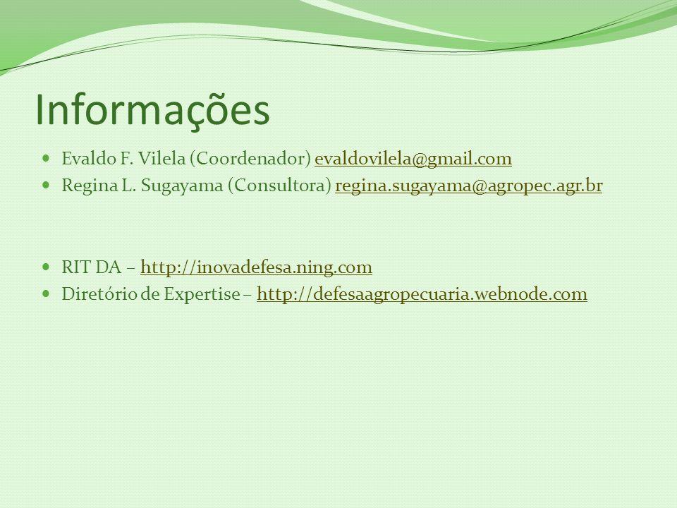 Informações Evaldo F. Vilela (Coordenador) evaldovilela@gmail.comevaldovilela@gmail.com Regina L. Sugayama (Consultora) regina.sugayama@agropec.agr.br