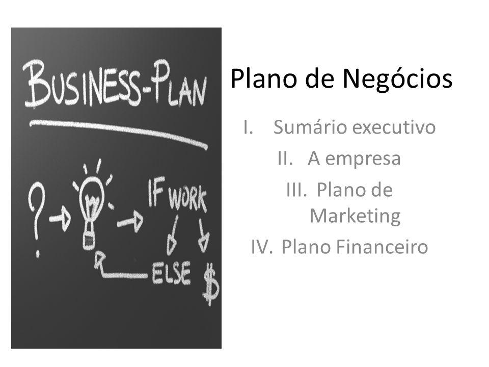 Plano de Negócios I.Sumário executivo II.A empresa III.Plano de Marketing IV.Plano Financeiro