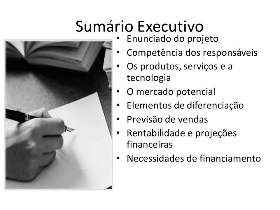 Sumário Executivo Enunciado do projeto Competência dos responsáveis Os produtos, serviços e a tecnologia O mercado potencial Elementos de diferenciaçã