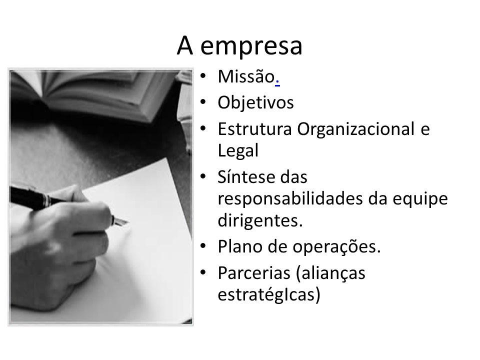 A empresa Missão.. Objetivos Estrutura Organizacional e Legal Síntese das responsabilidades da equipe dirigentes. Plano de operações. Parcerias (alian