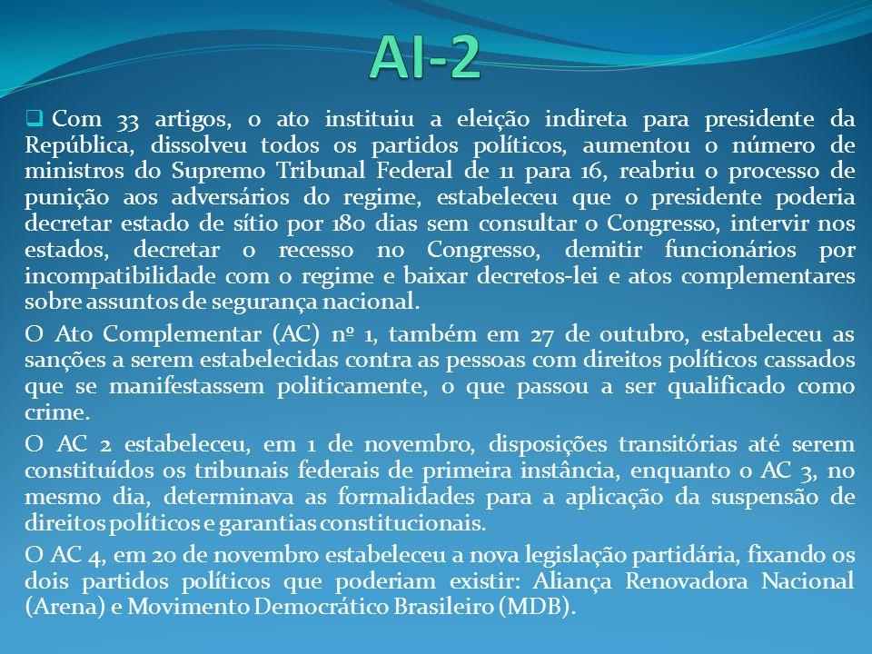 Com 33 artigos, o ato instituiu a eleição indireta para presidente da República, dissolveu todos os partidos políticos, aumentou o número de ministros