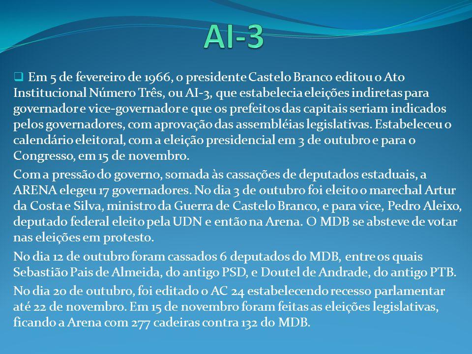 Em 5 de fevereiro de 1966, o presidente Castelo Branco editou o Ato Institucional Número Três, ou AI-3, que estabelecia eleições indiretas para govern