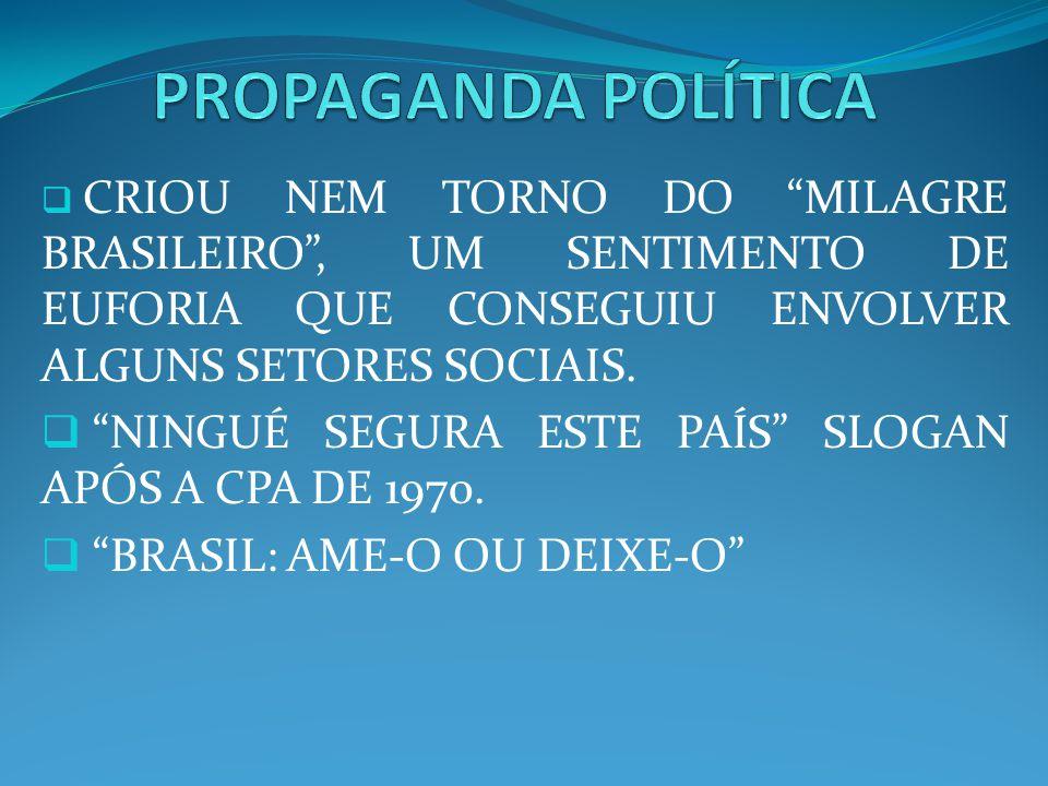 CRIOU NEM TORNO DO MILAGRE BRASILEIRO, UM SENTIMENTO DE EUFORIA QUE CONSEGUIU ENVOLVER ALGUNS SETORES SOCIAIS. NINGUÉ SEGURA ESTE PAÍS SLOGAN APÓS A C
