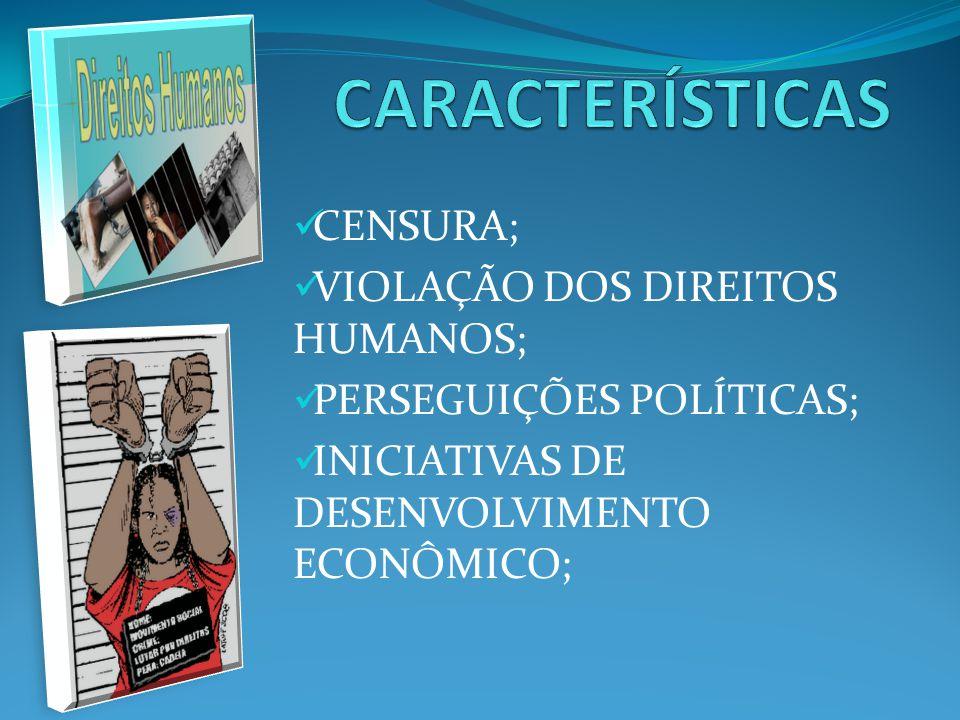 CENSURA; VIOLAÇÃO DOS DIREITOS HUMANOS; PERSEGUIÇÕES POLÍTICAS; INICIATIVAS DE DESENVOLVIMENTO ECONÔMICO;