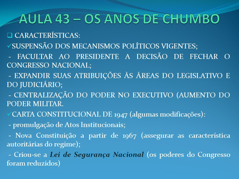 1969 – REFORMA CONSTITUCIONAL; INCORPOROU O A I-5: O Ato Institucional Nº5 ou AI-5 foi o quinto de uma série de decretos emitidos pelo regime militar brasileiro nos anos seguintes ao Golpe militar de 1964 no Brasil.