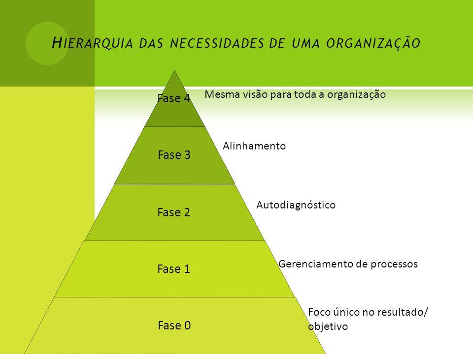 H IERARQUIA DAS NECESSIDADES DE UMA ORGANIZAÇÃO Fase 4 Fase 3 Fase 2 Fase 1 Fase 0 Mesma visão para toda a organização Alinhamento Autodiagnóstico Gerenciamento de processos Foco único no resultado/ objetivo