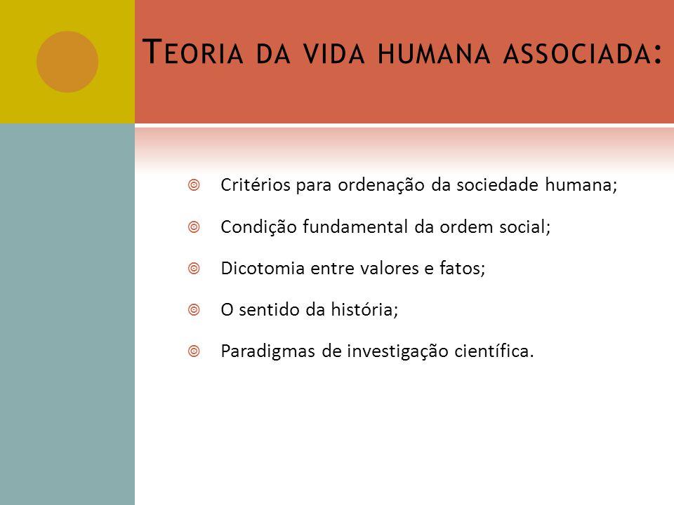 T EORIA DA VIDA HUMANA ASSOCIADA : Critérios para ordenação da sociedade humana; Condição fundamental da ordem social; Dicotomia entre valores e fatos; O sentido da história; Paradigmas de investigação científica.