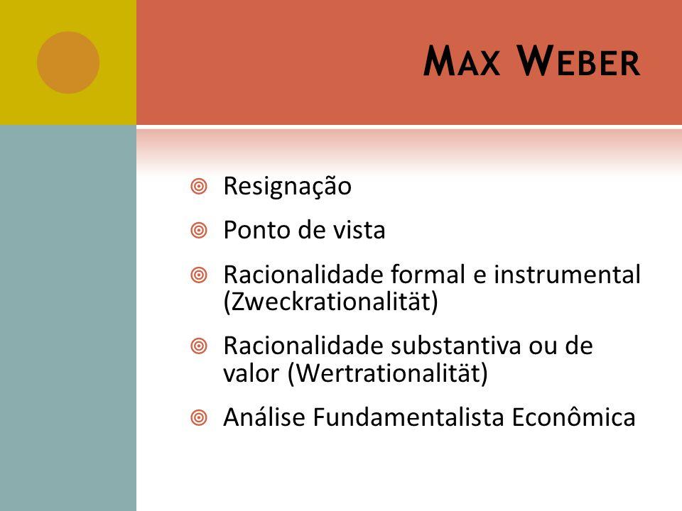 M AX W EBER Resignação Ponto de vista Racionalidade formal e instrumental (Zweckrationalität) Racionalidade substantiva ou de valor (Wertrationalität) Análise Fundamentalista Econômica