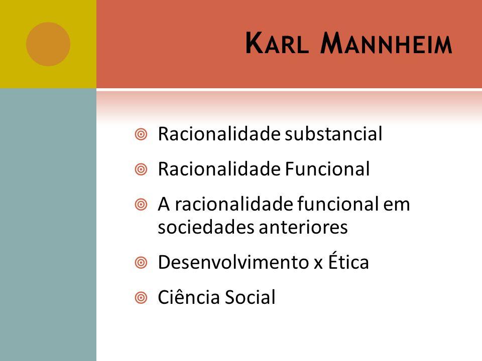 K ARL M ANNHEIM Racionalidade substancial Racionalidade Funcional A racionalidade funcional em sociedades anteriores Desenvolvimento x Ética Ciência S