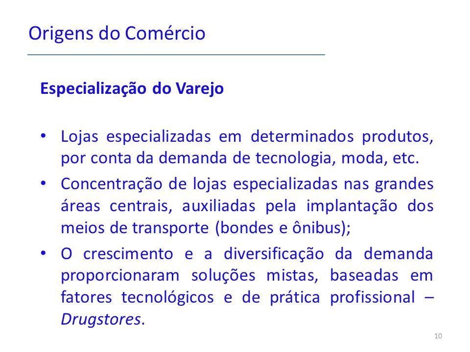 Origens do Comércio Especialização do Varejo Lojas especializadas em determinados produtos, por conta da demanda de tecnologia, moda, etc. Concentraçã