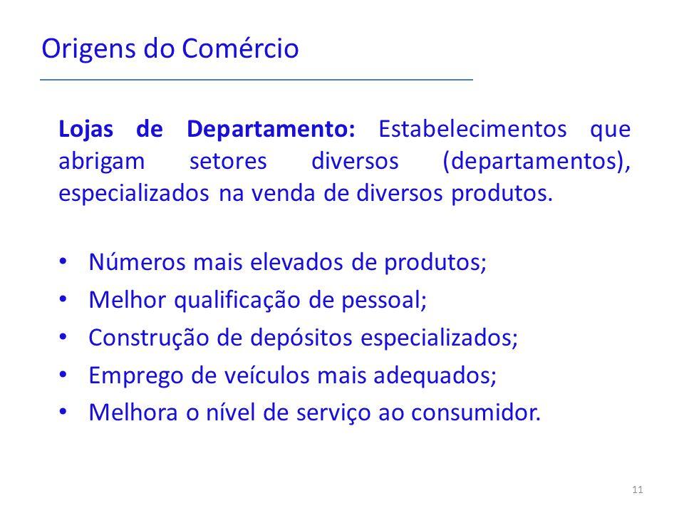 Origens do Comércio Lojas de Departamento: Estabelecimentos que abrigam setores diversos (departamentos), especializados na venda de diversos produtos