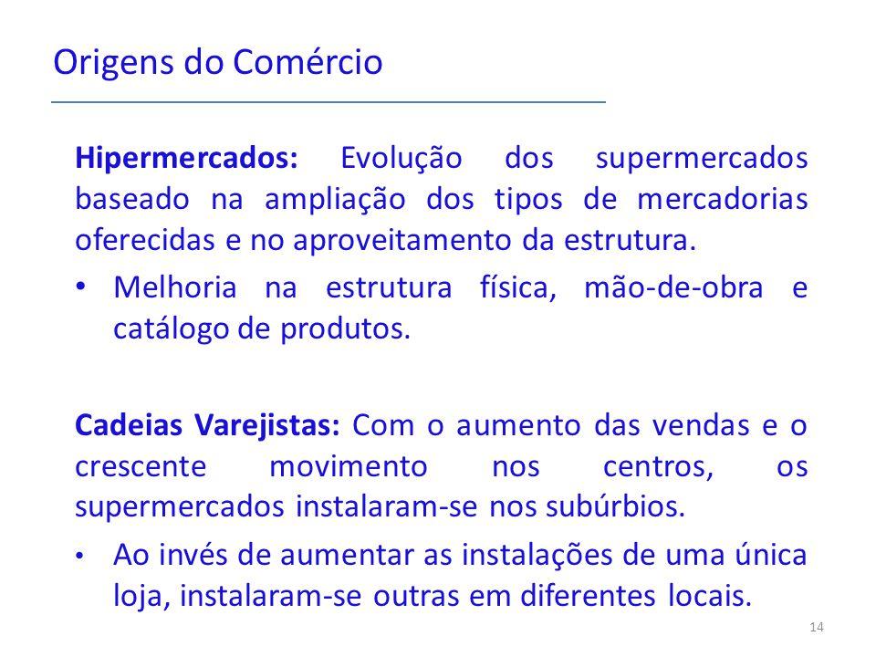 Origens do Comércio Hipermercados: Evolução dos supermercados baseado na ampliação dos tipos de mercadorias oferecidas e no aproveitamento da estrutura.