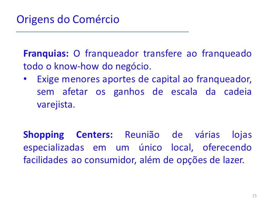 Origens do Comércio Franquias: O franqueador transfere ao franqueado todo o know-how do negócio. Exige menores aportes de capital ao franqueador, sem