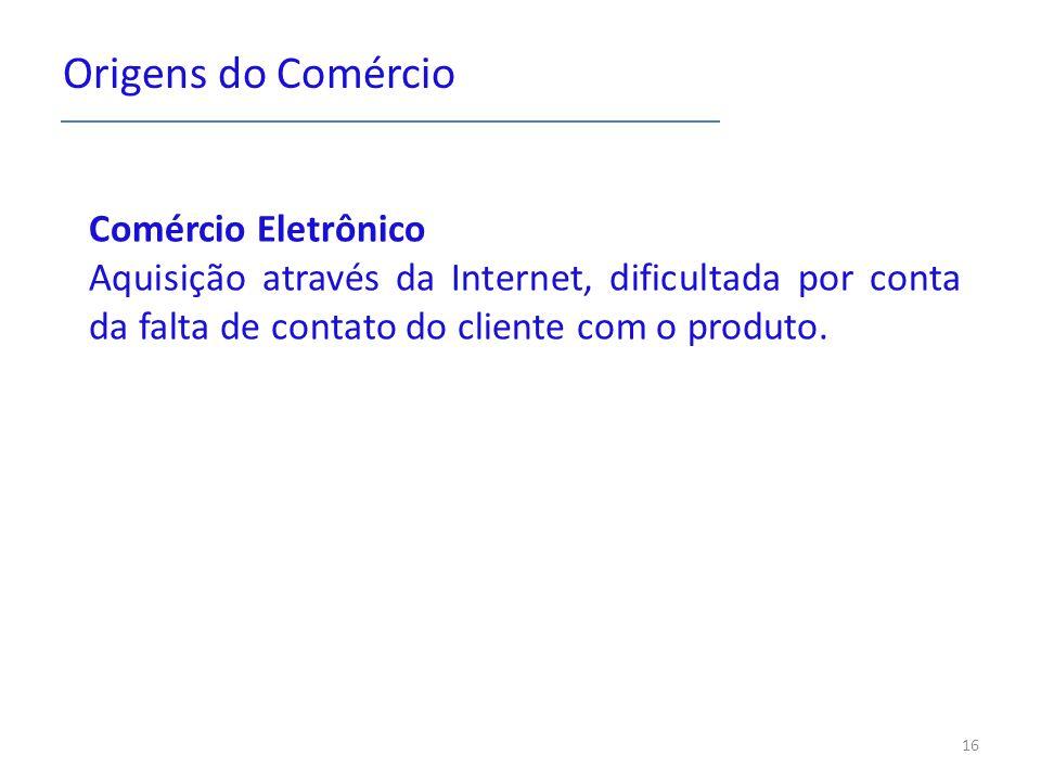 Origens do Comércio Comércio Eletrônico Aquisição através da Internet, dificultada por conta da falta de contato do cliente com o produto.