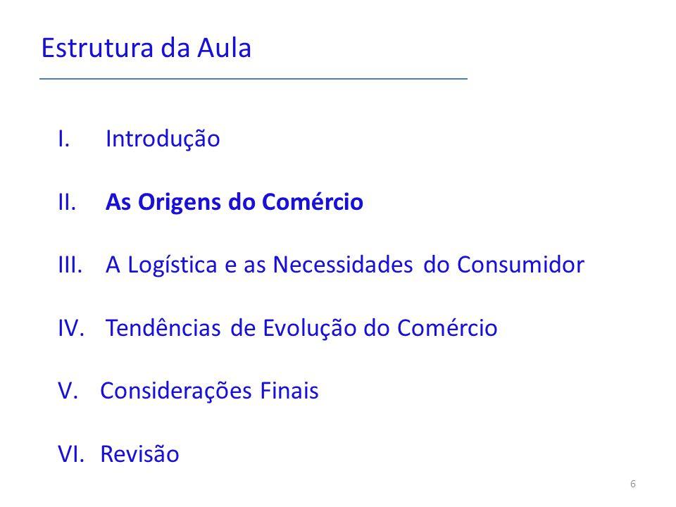 Estrutura da Aula I. Introdução II. As Origens do Comércio III. A Logística e as Necessidades do Consumidor IV. Tendências de Evolução do Comércio V.C