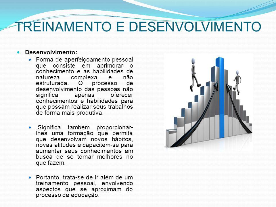 TREINAMENTO E DESENVOLVIMENTO Desenvolvimento: Forma de aperfeiçoamento pessoal que consiste em aprimorar o conhecimento e as habilidades de natureza