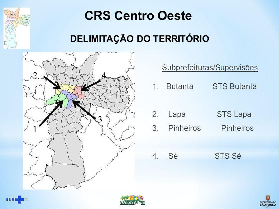 * 4 Subprefeituras: Butantã, Lapa, Pinheiros, Sé * 3 de Saúde: Butantã, Lapa – Pinheiros, Sé * População Total (2011): 1.470.436 hab * Moradores em situação de rua: aprox.