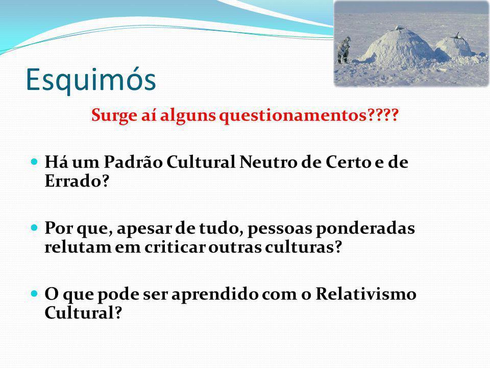 Esquimós RELATIVISMO CULTURAL Diferentes culturas possuem diferentes códigos morais Não há