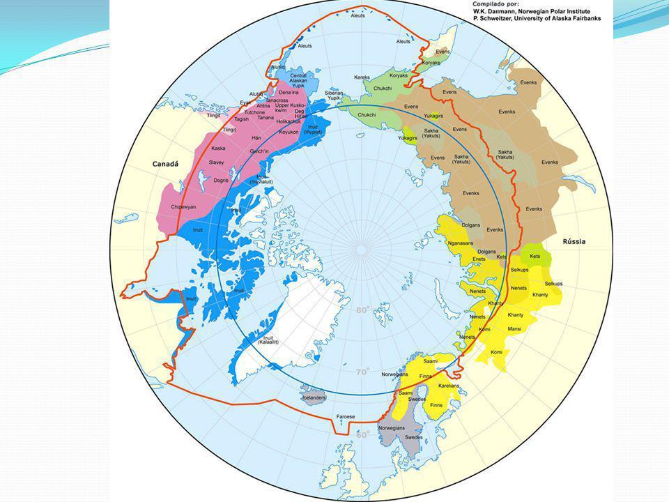 Esquimós Algumas especificações para as tribos: No ocidente (yupik) no lado asiático do estreito de Bering -os esquimós orientais (inuit) No norte do
