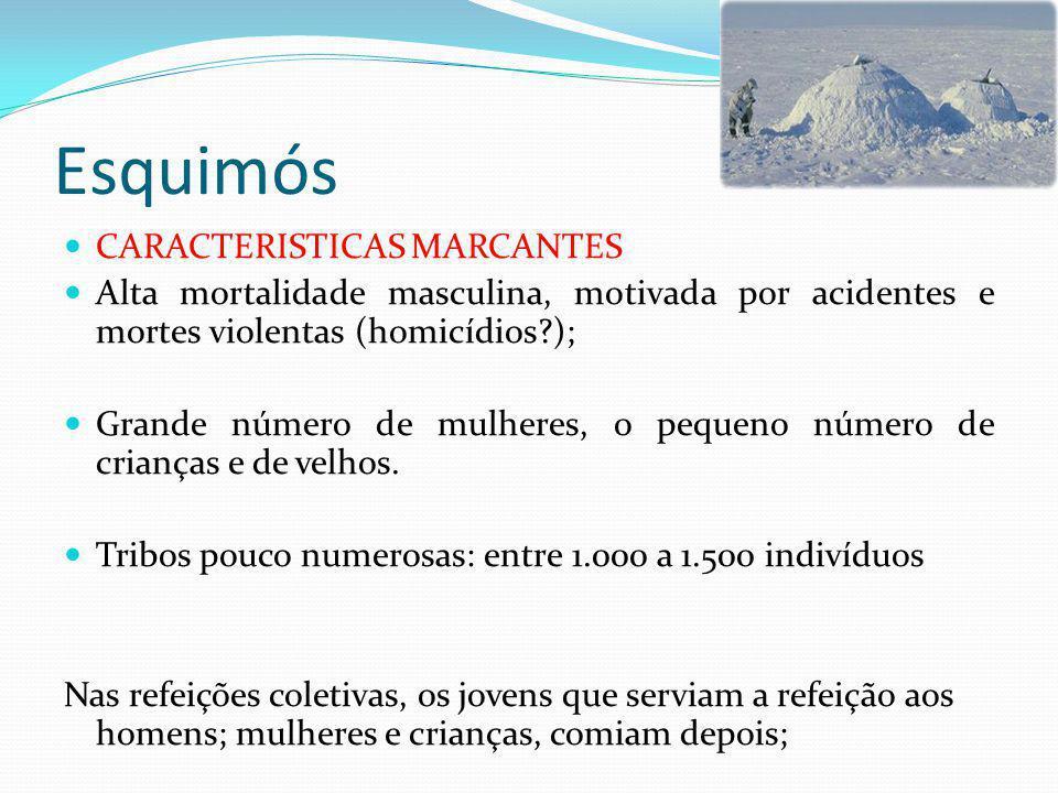 Esquimós CARACTERISTICAS MARCANTES Alta mortalidade masculina, motivada por acidentes e mortes violentas (homicídios?); Grande número de mulheres, o pequeno número de crianças e de velhos.