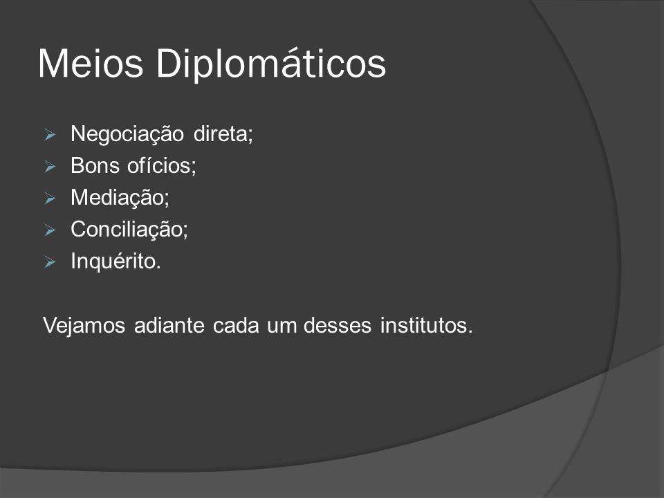 Meios Diplomáticos Negociação direta; Bons ofícios; Mediação; Conciliação; Inquérito. Vejamos adiante cada um desses institutos.
