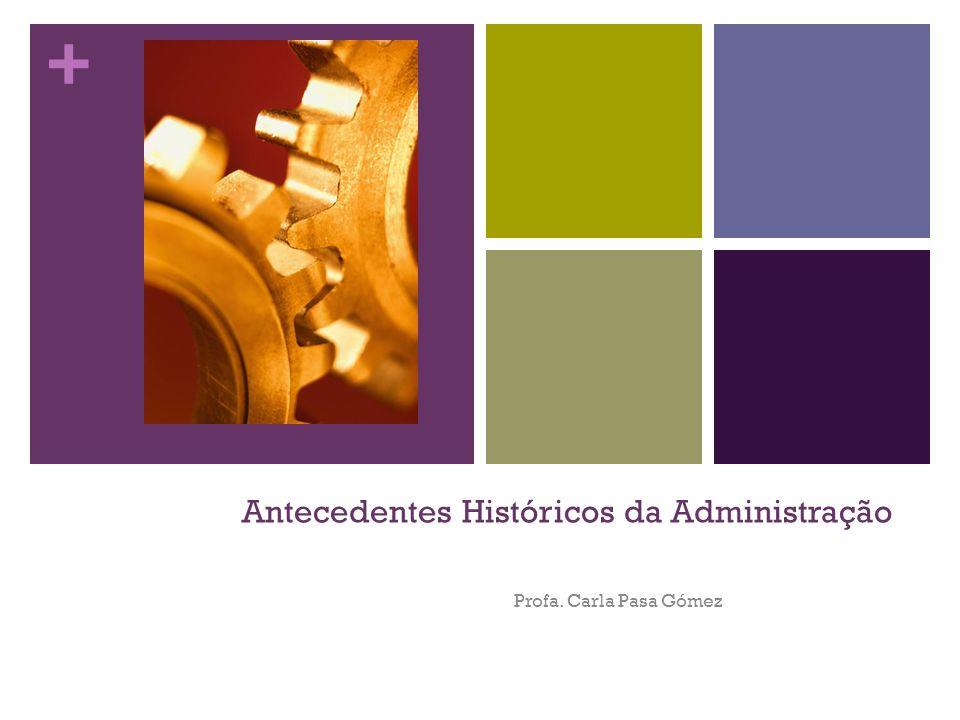 + Antecedentes Históricos da Administração Profa. Carla Pasa Gómez
