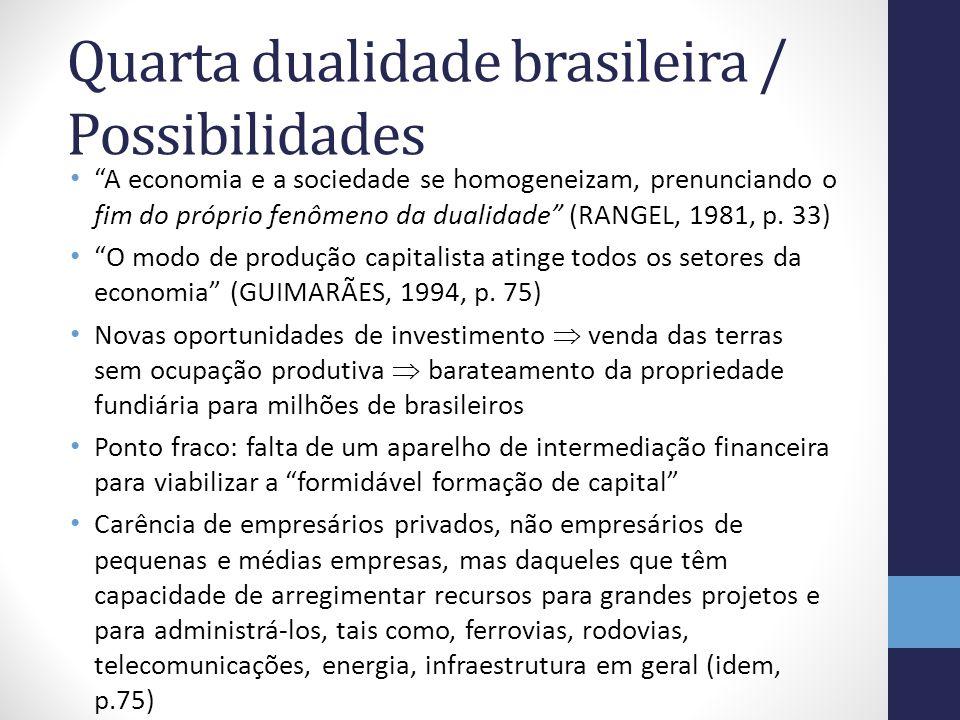 Quarta dualidade brasileira / Possibilidades A economia e a sociedade se homogeneizam, prenunciando o fim do próprio fenômeno da dualidade (RANGEL, 19