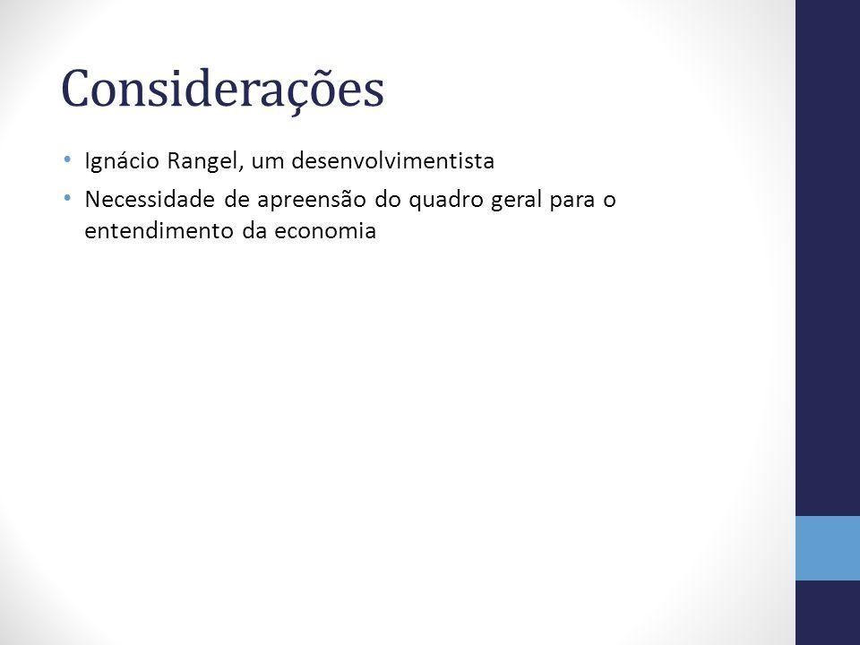 Considerações Ignácio Rangel, um desenvolvimentista Necessidade de apreensão do quadro geral para o entendimento da economia