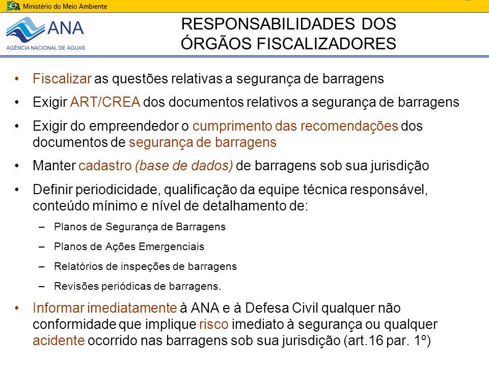 RESPONSABILIDADES DOS ÓRGÃOS FISCALIZADORES Fiscalizar as questões relativas a segurança de barragens Exigir ART/CREA dos documentos relativos a segur