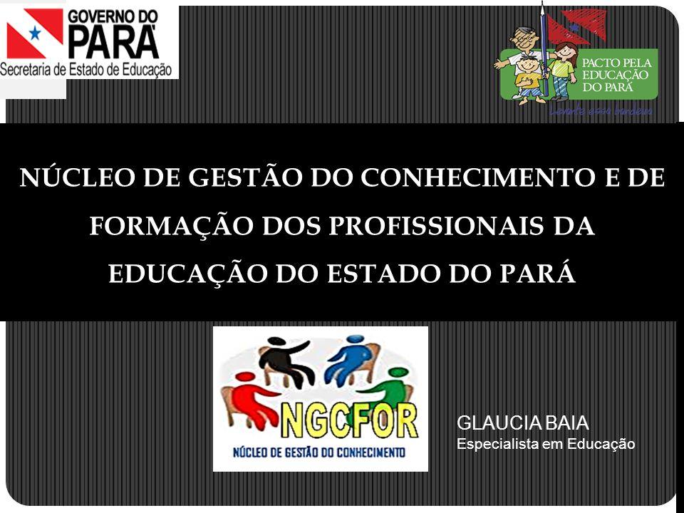 NÚCLEO DE GESTÃO DO CONHECIMENTO E DE FORMAÇÃO DOS PROFISSIONAIS DA EDUCAÇÃO DO ESTADO DO PARÁ GLAUCIA BAIA Especialista em Educação