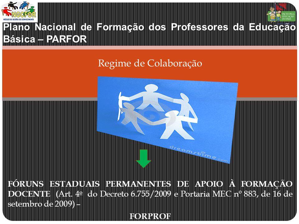 Plano Nacional de Formação dos Professores da Educação Básica – PARFOR Regime de Colaboração FÓRUNS ESTADUAIS PERMANENTES DE APOIO À FORMAÇÃO DOCENTE (Art.