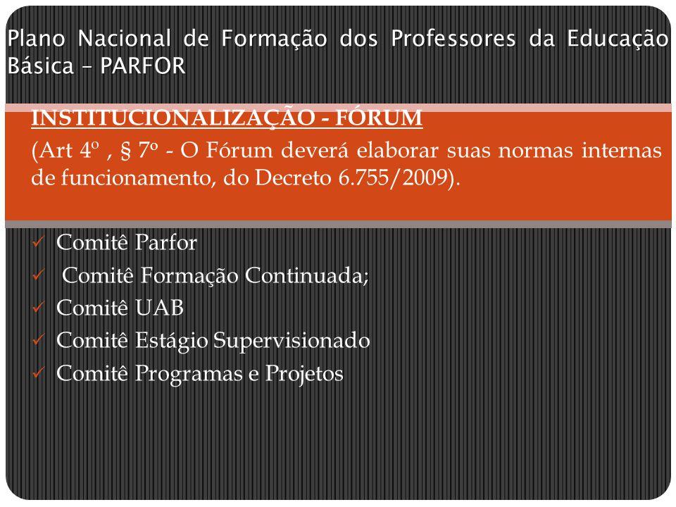 Plano Nacional de Formação dos Professores da Educação Básica – PARFOR INSTITUCIONALIZAÇÃO - FÓRUM (Art 4º, § 7 o - O Fórum deverá elaborar suas normas internas de funcionamento, do Decreto 6.755/2009).