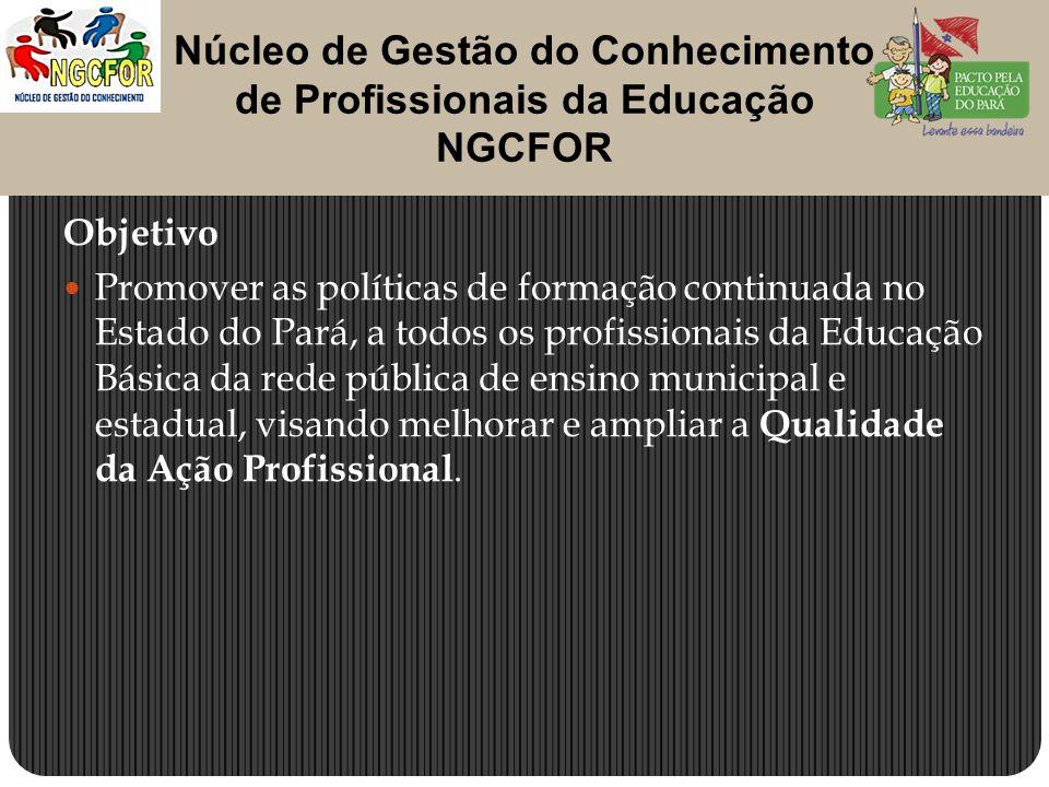Objetivo Promover as políticas de formação continuada no Estado do Pará, a todos os profissionais da Educação Básica da rede pública de ensino municipal e estadual, visando melhorar e ampliar a Qualidade da Ação Profissional.