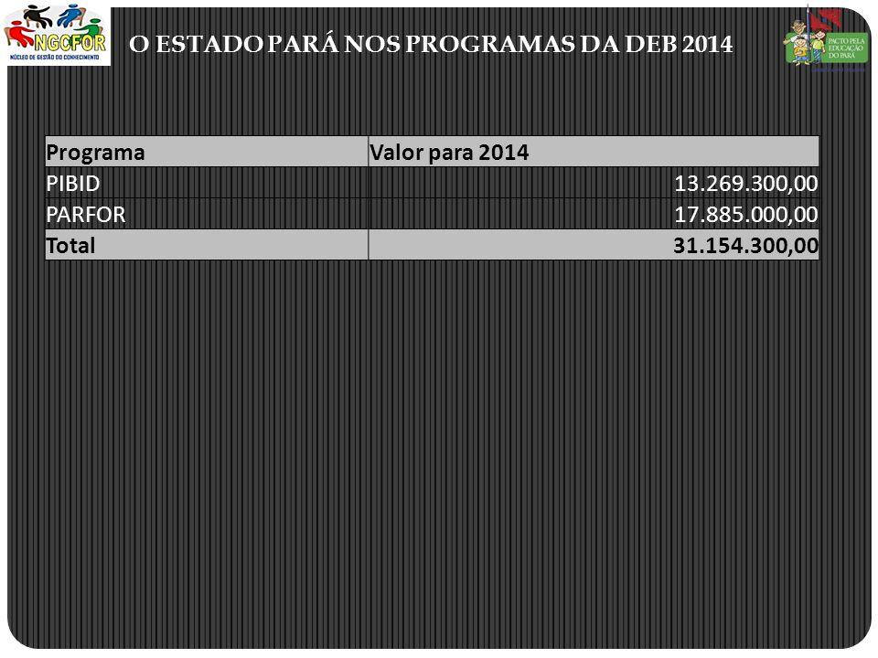 O ESTADO PARÁ NOS PROGRAMAS DA DEB 2014 ProgramaValor para 2014 PIBID13.269.300,00 PARFOR17.885.000,00 Total31.154.300,00