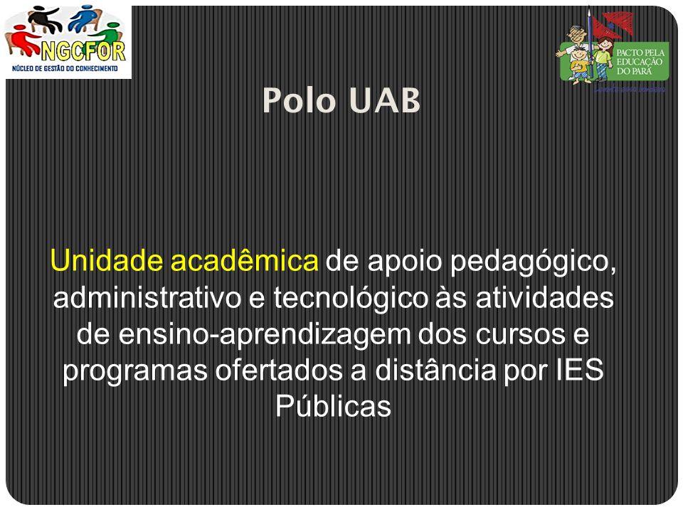 Unidade acadêmica de apoio pedagógico, administrativo e tecnológico às atividades de ensino-aprendizagem dos cursos e programas ofertados a distância por IES Públicas Polo UAB