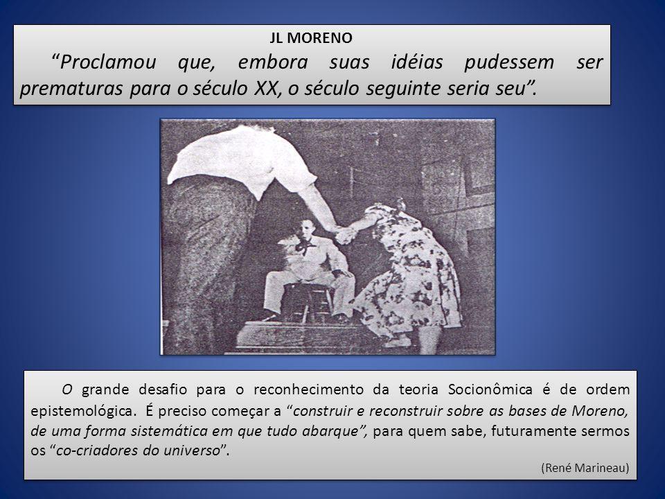 JL MORENO Proclamou que, embora suas idéias pudessem ser prematuras para o século XX, o século seguinte seria seu. JL MORENO Proclamou que, embora sua