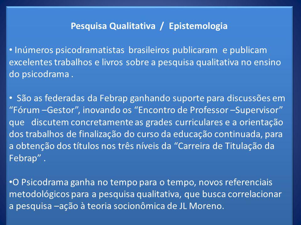 Pesquisa Qualitativa / Epistemologia Inúmeros psicodramatistas brasileiros publicaram e publicam excelentes trabalhos e livros sobre a pesquisa qualit