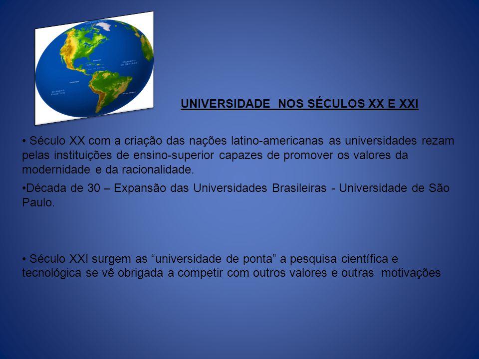 UNIVERSIDADE NOS SÉCULOS XX E XXI Século XX com a criação das nações latino-americanas as universidades rezam pelas instituições de ensino-superior ca
