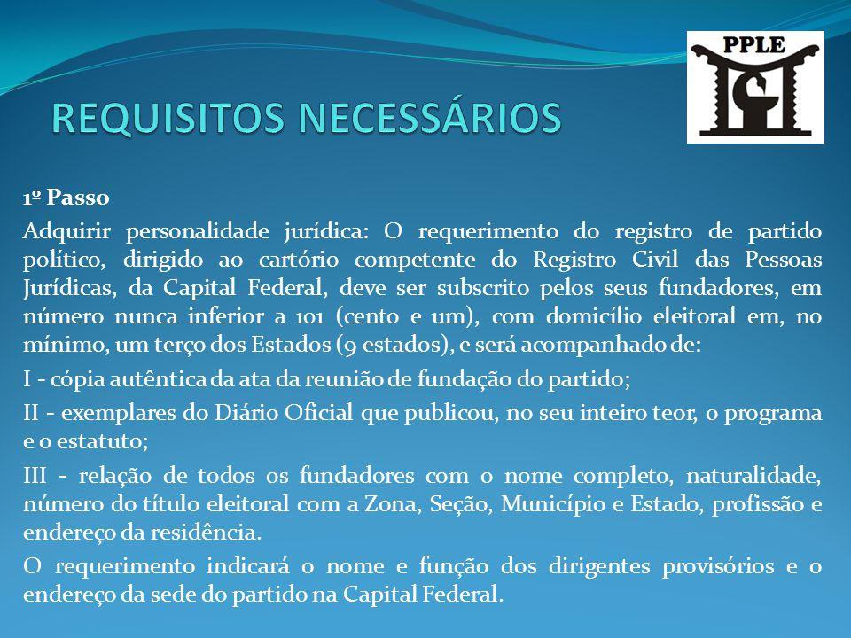 1º Passo Adquirir personalidade jurídica: O requerimento do registro de partido político, dirigido ao cartório competente do Registro Civil das Pessoa